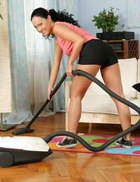 Adorable housewife vacuums..